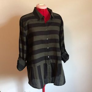Green and Black striped button-up blouse